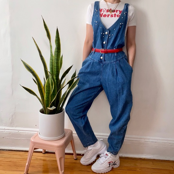 Vintage Pants - Vintage 90's denim overalls with pearl buttons, S